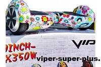 Гироскутер Гироборд VIPER SUPER PLUS 6.5 дюймов цвет FLOWER белый с цветами само баланс Блютуз Пульт Сумка Led