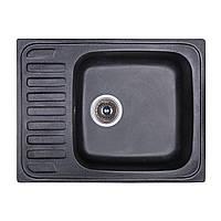 Мойка гранитная 64*49 см Бесплатная доставка цвет черный (420) Fosto прямоугольная