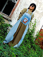 Комплект (сарафан, блузка) из джинса и льна с вышивкой шелком(№328)