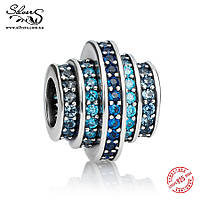 """Серебряная подвеска шарм Пандора (Pandora) """"Голубые кольца"""" для браслета бусина"""