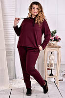 Бордовый спортивный костюм 0567-3 большого размера 42-74 батал