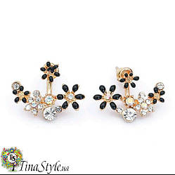 Серьги цветок черные кристаллы 2 цвета ромашки сережки камни белые зеленые ХИТ!