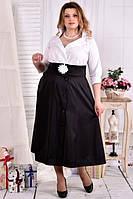 Черно-белое платье макси 0559-3 большого размера 42-74 батал