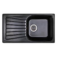 Мойка гранитная 81*46 см Бесплатная доставка цвет черный (420) Fosto прямоугольная