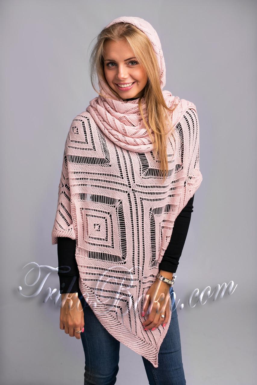 Широкий ажурный шарф