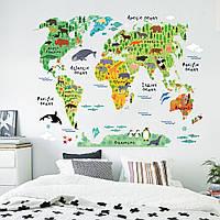 Наклейка Карта Мира Животные