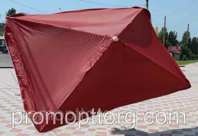 Зонт прямоугольный без клап. (2x3 м) для торговли, отдыха на природе (4 метал. спицы, цвета в асс.) DJV /N-03