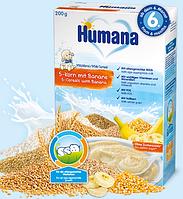 Молочная каша Humana 5 злаков с бананом, 200 г.