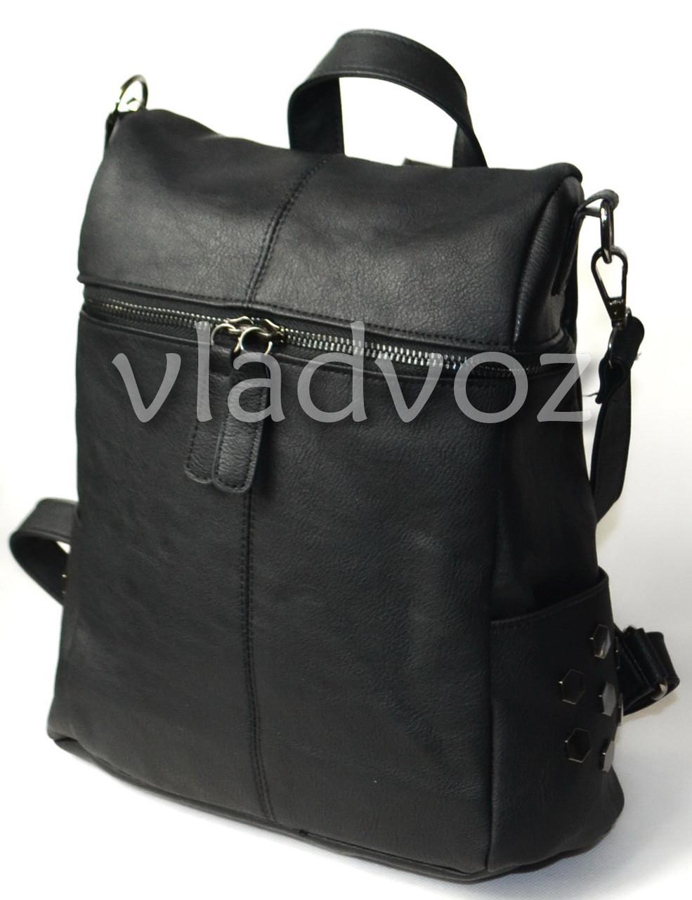 524a355756c9 Городской женский молодежный модный стильный рюкзак сумка черный - ☎ VIBER  0977864700 интернет магазин vladvoz.