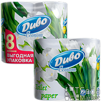 "Бумага туалетная целлюлозная на гильзе, белая по 4рул""ДИВО ЕКОНОМ"
