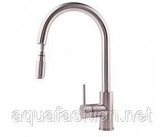 Смеситель для кухонной мойки с выдвижным изливом нержавеющая сталь ULA BW6001