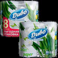 """Бумага туалетная целюл на гильзе, белая 8рул""""ДИВО ЕКОНОМ"""