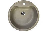 Кухонная мойка гранитная 49 см круглая Valetti бежевая серии Standart модель №3B