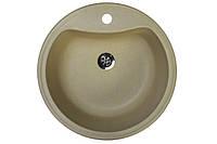 Кухонная гранитная мойка 49 см круглая Valetti цвет старый камень серии Standart модель №3B