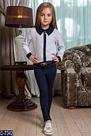Элегантные брючки для девочки в школу ткань - турецкий тиар цвет -темно синий