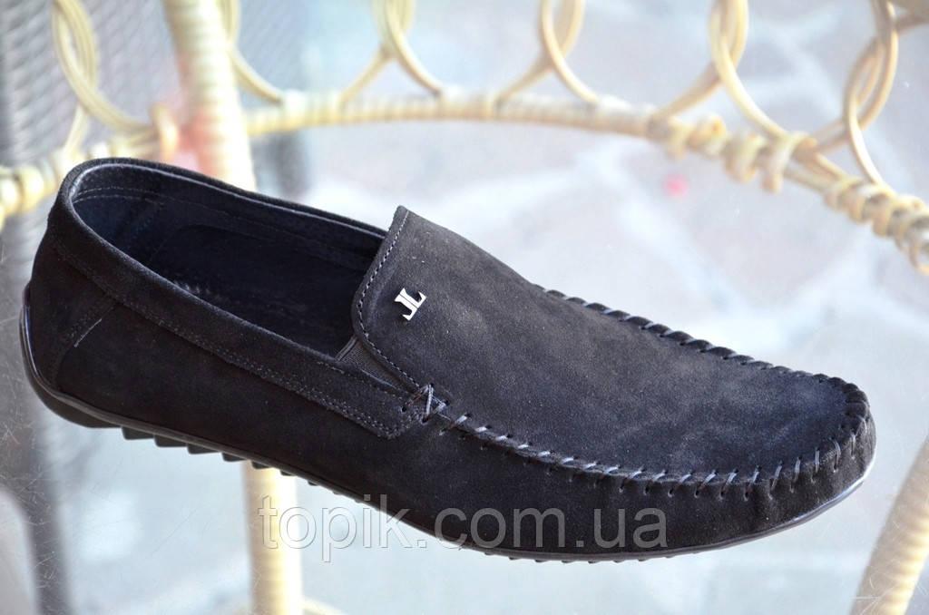Туфли, мокасины мужские черные натуральная замша практичные удобные Харьков (Код: 819а)