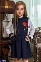 Сарафан для девочки школьный ткань - костюмка с вышивкой - три розы, темно синий