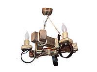 Люстра из дерева подвесная на цепях  на три рожка-свечи