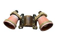 Светильник из дерева бра настенное  с двумя натуральными глиняными горшками-плафонами