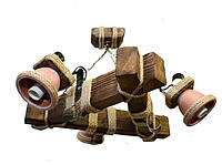 Люстра из дерева подвесная на цепях  с тремя натуральными горшками-плафонами