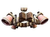 Люстра из дерева на цепях  с четырьмя плафонами-горшками