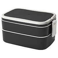 FLOTTIG Коробка для завтрака, черный, белый