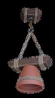 """Люстра из дерева подвесная на цепях """"Горшок"""" с одним натуральным керамическим плафоном-горшком"""