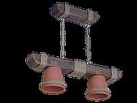 Люстра из дерева подвесная на цепях с двумя горшками-плафонами