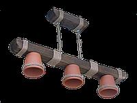 Люстра из дерева подвесная на цепях  с тремя плафонами-горшками