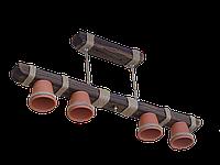 """Люстра из дерева подвесная на цепях  серии """"Горшок"""" с четырьмя натуральными керамическими плафонами горшками"""