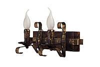 """Светильник из дерева бра настенное  на два рожка-свечи серии """"Старый замок""""."""