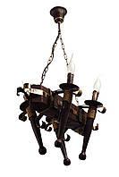 """Люстра из дерева подвесная на цепях  на четыре факела-свечи серии """"Старый замок""""."""