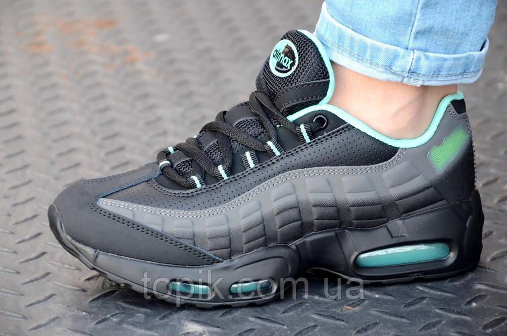 Кроссовки женские, подростковые черные с серой вставкой кожаный носок (Код: 829а)