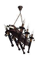 """Люстра из дерева подвесная на цепях 6-БФ на шесть факела-свечи серии """"Старый замок""""."""