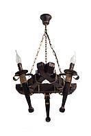 "Люстра из дерева подвесная на цепях  на три факела-свечи серии ""Старый замок""."