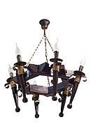 """Люстра из дерева подвесная на цепях 6-ЛФ на 6 факелов свечей серии """"Старый замок""""."""