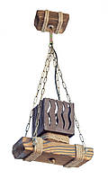 """Люстра из дерева подвесная на цепях """"Подвес"""" с одним эксклюзивным деревянным плафоном"""