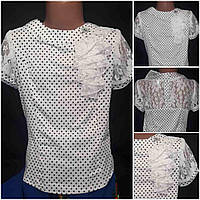 Школьная девичья блуза с коротким рукавчиком, ткань - масло, вставка из гипюра, рост 116-146 см., 150