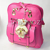 Городской женский модный стильный рюкзак сумка малиновый с мишкой