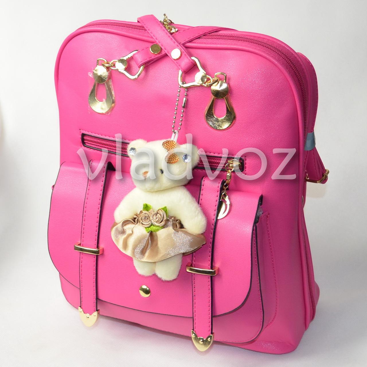 f8ca00d2599c Городской женский модный стильный рюкзак сумка малиновый с мишкой -  интернет-магазин vladvozsklad KIEVSTAR -