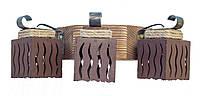 Светильник из дерева бра настенное  тремя деревянными плафонами.