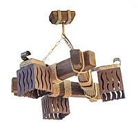 Люстра из дерева подвесная на цепях  с тремя деревянными коричневыми плафонами