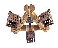 Люстра из дерева потолочная ДП-17 с тремя деревянными плафонами