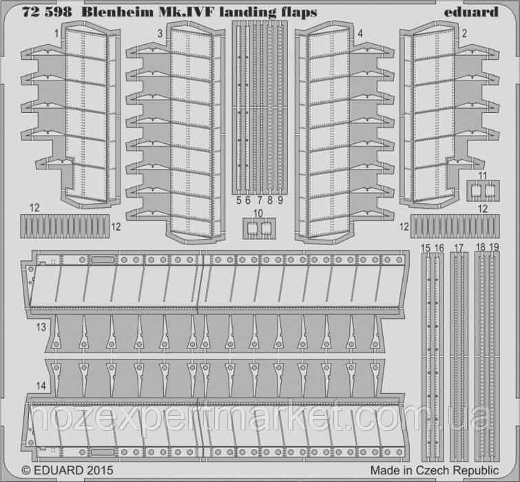 Фототравление 1/72 Blenheim Mk.IVF, закрылки (Airfix)