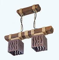 """Люстра из дерева подвесная на цепях  """"Подвес"""" с двумя деревянными эксклюзивными плафонами"""