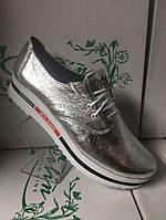 Женские кожаные модные стильные туфли ,серебристые