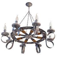"""Люстра из дерева подвесная на цепях на 8 рожка-свечи серии """"Новый стиль"""" черная с золотистой патиной"""