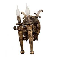 """Светильник из дерева на 2 факел-свечи """"Новый стиль"""" черного цвета с золотистой патиной в стиле """"Замковый лофт"""""""