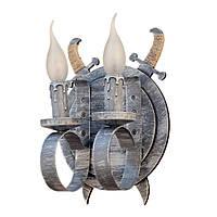 """Светильник из дерева на 2 рожка-свечи серии """"Новый стиль"""" серого цвета с белой патиной в стиле """"Замковый лофт"""