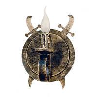 """Светильник из дерева на 1 рожок-свечу серии """"Новый стиль"""" серого черного цвета с золотистой патиной в стиле"""
